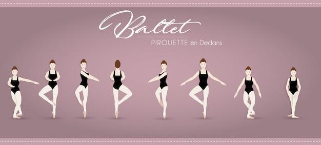 Ballett pirouette en dedans Premium Vektoren
