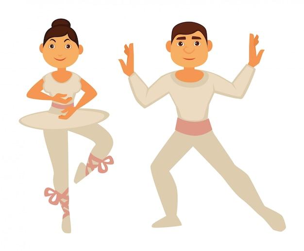 Balletttänzer in weißen, dünnen kleidern führen tanz auf Premium Vektoren