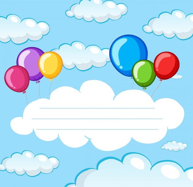 Ballon auf himmelanmerkungsschablone Kostenlosen Vektoren