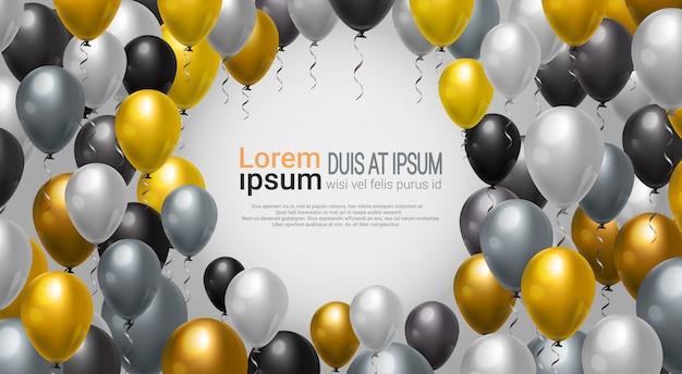 Ballon-dekoration für partei-, feier-oder festival-ereignishintergrund-rahmenschablone Premium Vektoren