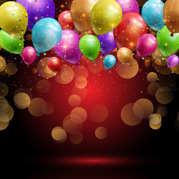 Ballone und konfetti hintergrund Kostenlosen Vektoren