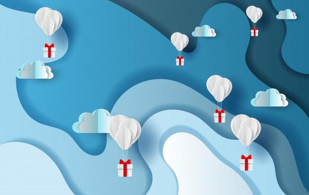 Ballongeschenk auf abstraktem hintergrund des blauen himmels der kurvenform Premium Vektoren
