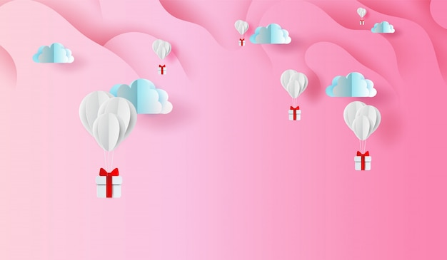 Ballongeschenk auf abstraktem kurvenformrosa himmelhintergrund Premium Vektoren