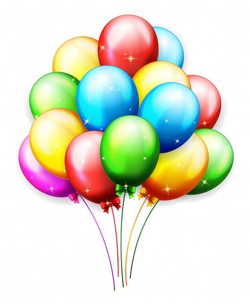 Ballons und konfetti für partys geburtstag Premium Vektoren