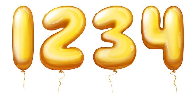Ballonszahlen - eins, zwei, drei, vier Kostenlosen Vektoren
