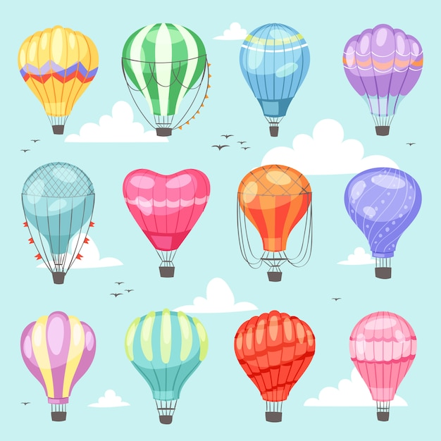 Ballonvektorkarikaturluftballon oder -luftfahrzeug mit korbfliegen im himmel und im ballon aufsteigen des abenteuerflugillustrationssatzes des ballonisierten reisenden fliegens Premium Vektoren