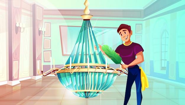 Ballsaal-reinigungsillustration des mannes großen kristallleuchter mit federstaubtuch abwischend. Kostenlosen Vektoren