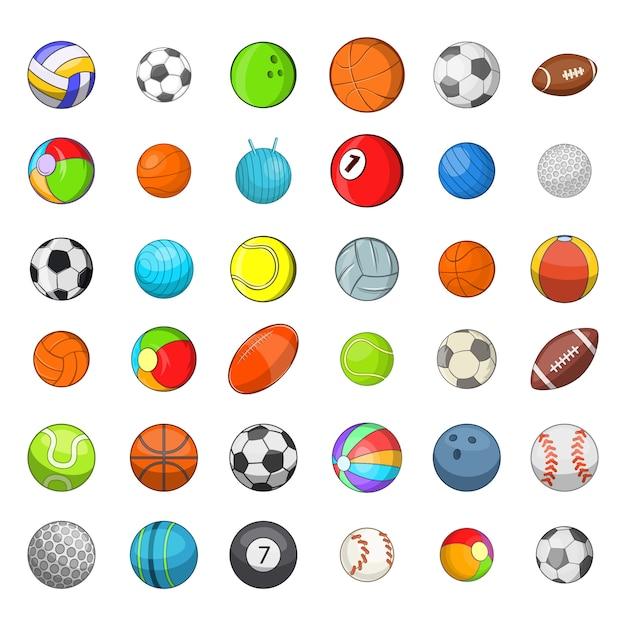 Ballsport-elementsatz. karikatursatz ball trägt vektorelemente zur schau Premium Vektoren