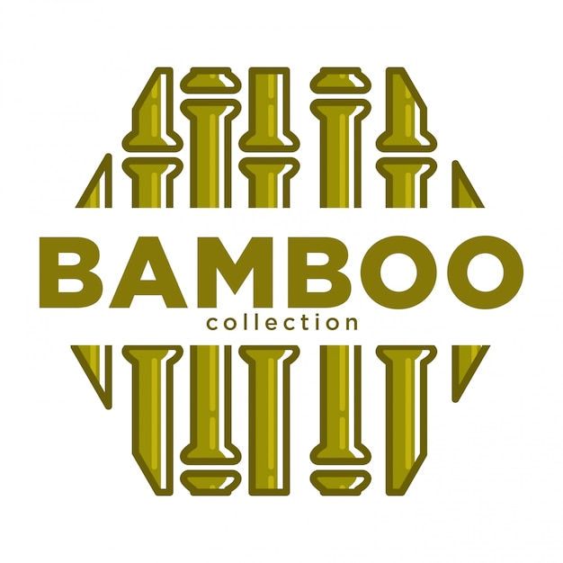 Bamboo collection promo emblem in sechseckform mit schild Premium Vektoren
