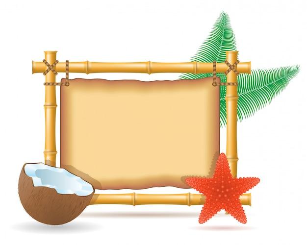 Bambusrahmen und kokosnuss Premium Vektoren