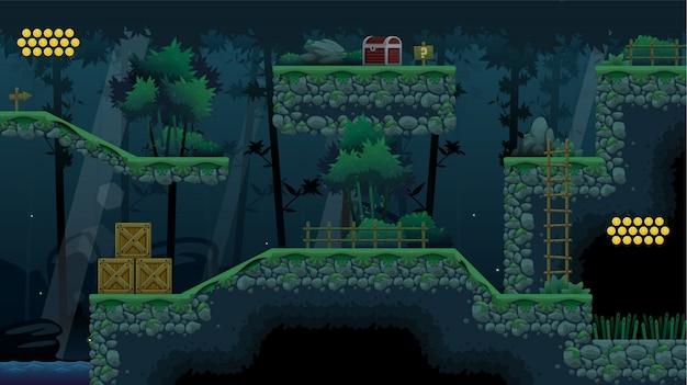 Bambuswald-platformer-spielplattenset Premium Vektoren