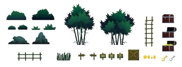 Bambuswaldspielgegenstände und -stützen Premium Vektoren