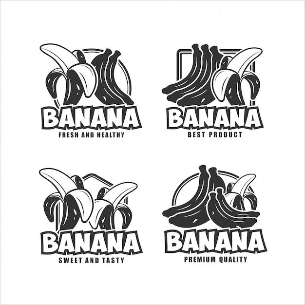 Banane frische und gesunde designkollektion Premium Vektoren