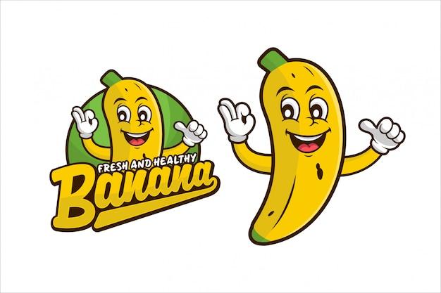 Banane frisches und gesundes design-logo Premium Vektoren