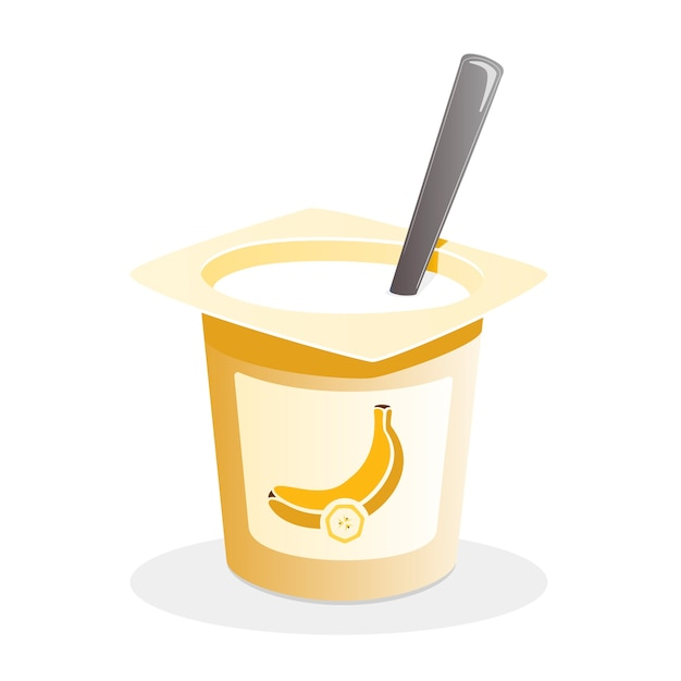 Bananenjoghurt mit löffel nach innen auf weißem hintergrund Premium Vektoren