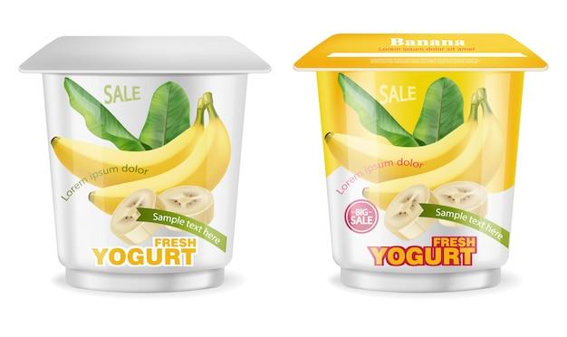 Bananenjoghurt-paketspritzen Premium Vektoren