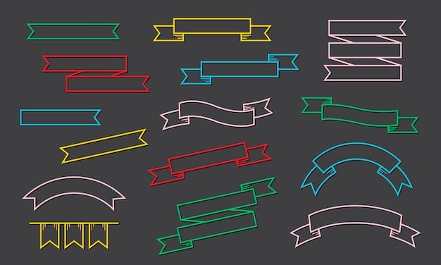 Band-aufkleber-fahnen-sammlungs-illustration Kostenlosen Vektoren