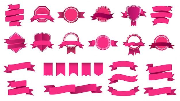 Band banner abzeichen. rahmen mit klebeband, abstraktem dekorativem formabzeichen und gebogenen bändern. sammlung von rosa etiketten und briefmarken. objekte mit banderole und wimpeln Premium Vektoren