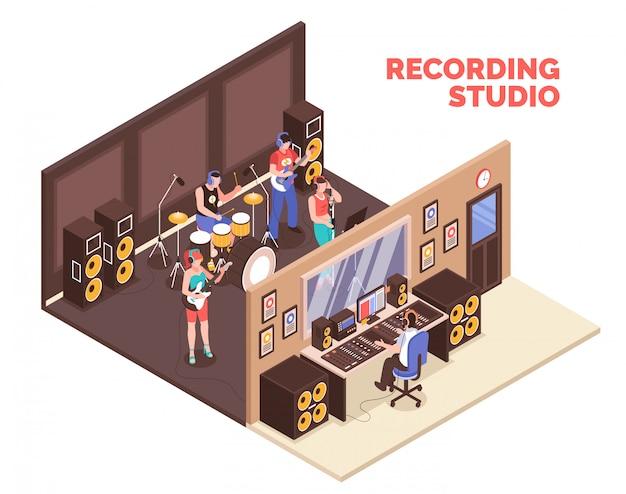 Band, die musikinstrumente spielt und im isometrischen tonstudio 3d singt Kostenlosen Vektoren