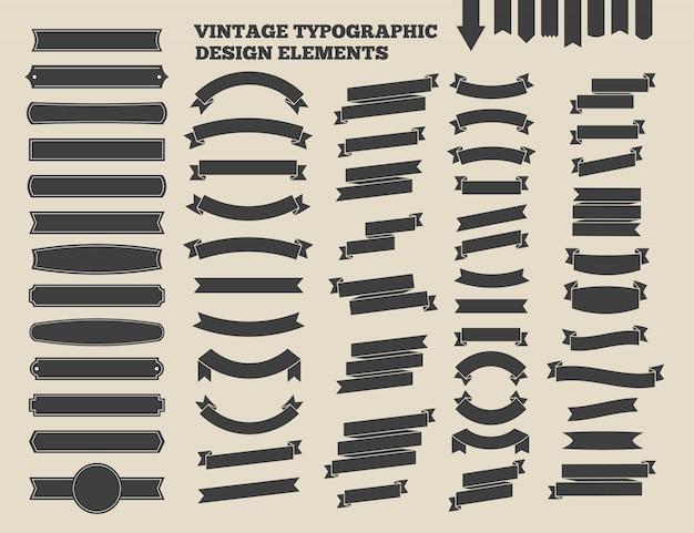 Band- und weinleseemblemsatz. typografisches gestaltungselement. vektor-illustration Premium Vektoren