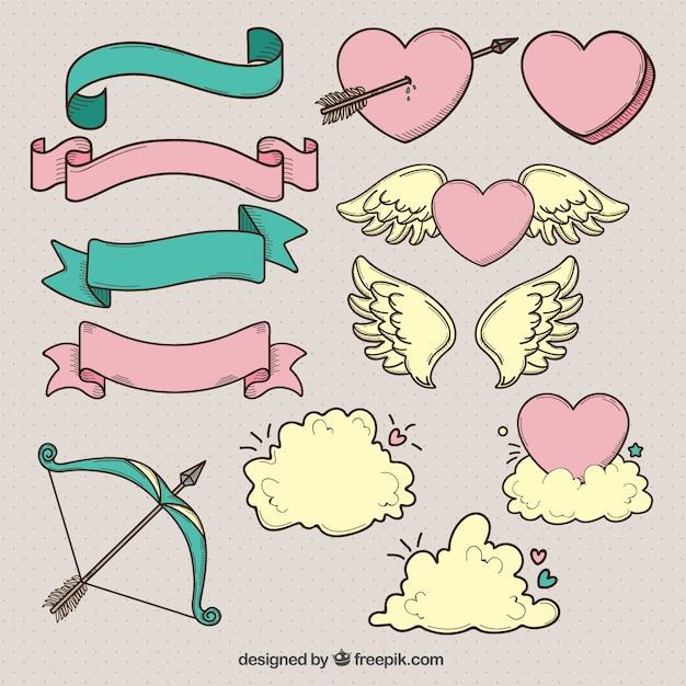 Bänder und andere Hand gezeichnet valentine Elemente   Download der ...