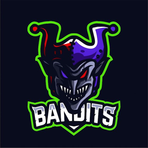 Bandit maskottchen-gaming-logo Premium Vektoren