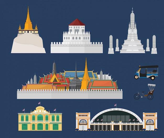 Bangkok stadt und sehenswürdigkeiten Premium Vektoren