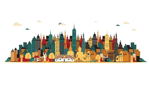 Bangkok stadt vektor-illustration Premium Vektoren