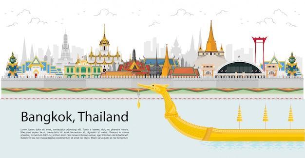 Bangkok und über thailand mit attraktionen, wahrzeichen Premium Vektoren