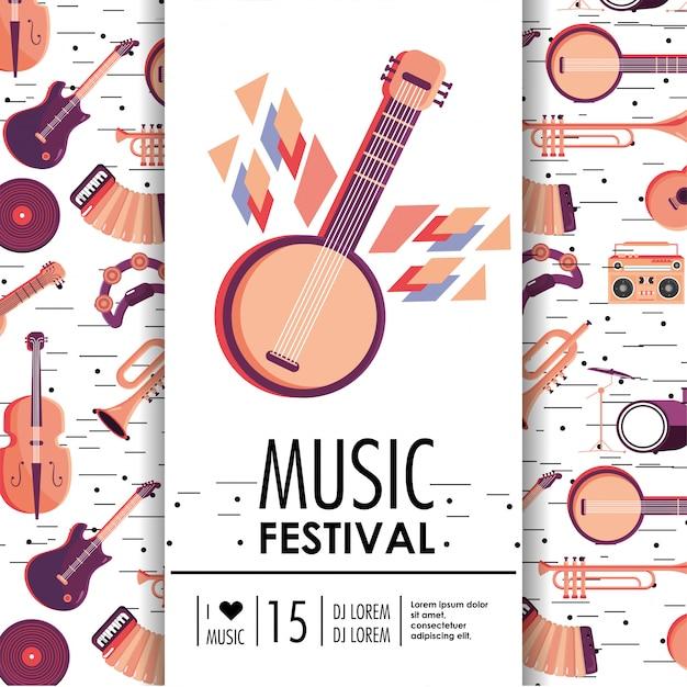 Banjo und instrumente zum musikfestival Premium Vektoren