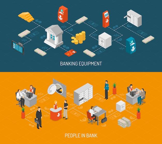 Bank banner gesetzt Kostenlosen Vektoren