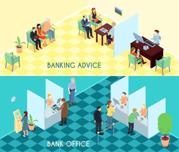 Bank service isometrische banner Kostenlosen Vektoren