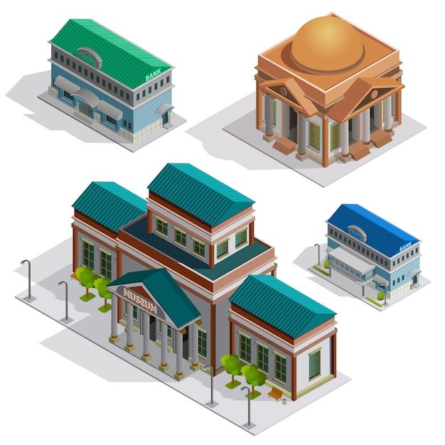Bank- und museumsgebäude-isometrische ikonen Kostenlosen Vektoren