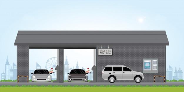 Bankangestellter fahren durch gasse. Premium Vektoren