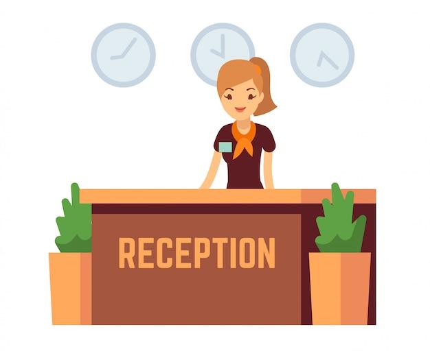 Bankbüro oder hotelaufnahme mit lächelnder frauenvektorillustration der empfangsdame Premium Vektoren
