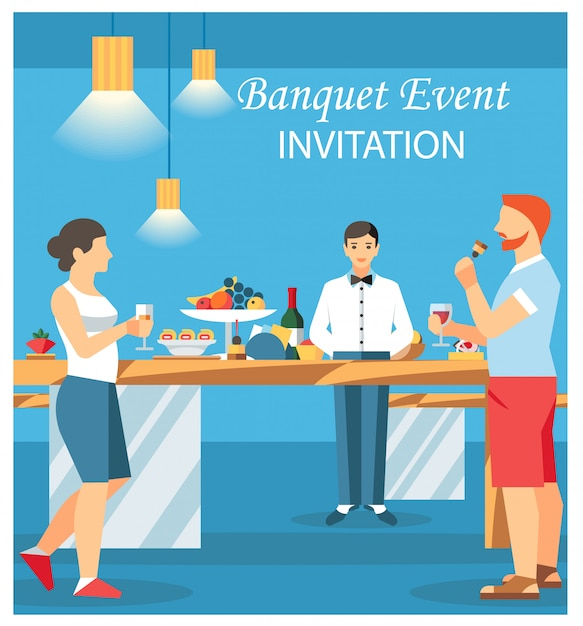 Bankett-einladungs-karten-flache vektor-illustration Premium Vektoren