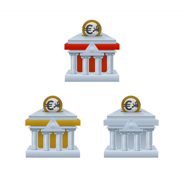 Bankgebäude formte sparschweinikonen mit euromünzen Premium Vektoren