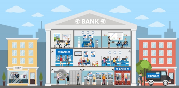 Bankgebäude interieur. stadtgebäude in der stadtlandschaft. bankbüros mit menschen. Premium Vektoren