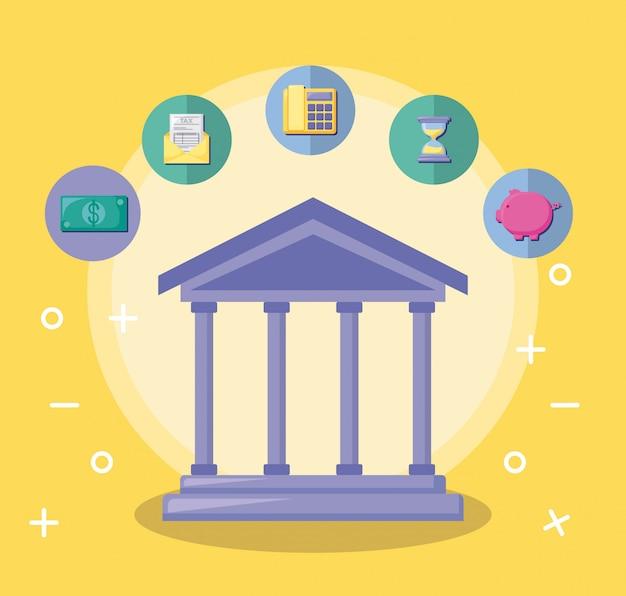 Bankgebäude mit wirtschaft und finanzen Premium Vektoren