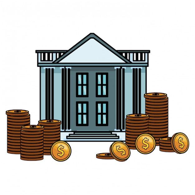 Bankgebäude-symbol Premium Vektoren