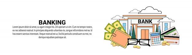 Bankgeschäfts-finanzkonzept-horizontale fahnenschablone Premium Vektoren