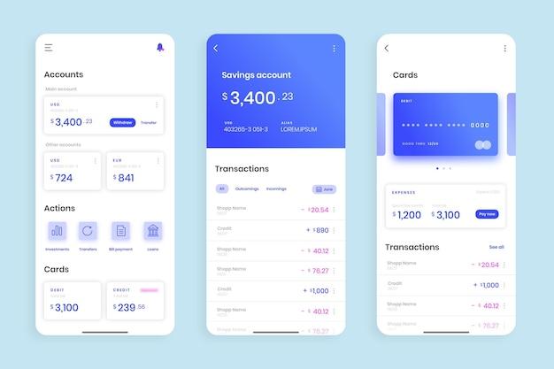 Banking app-oberfläche Premium Vektoren