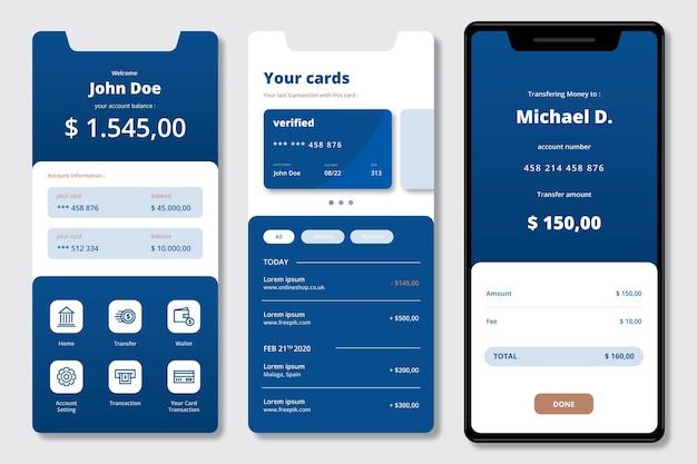Banking app-oberfläche Kostenlosen Vektoren