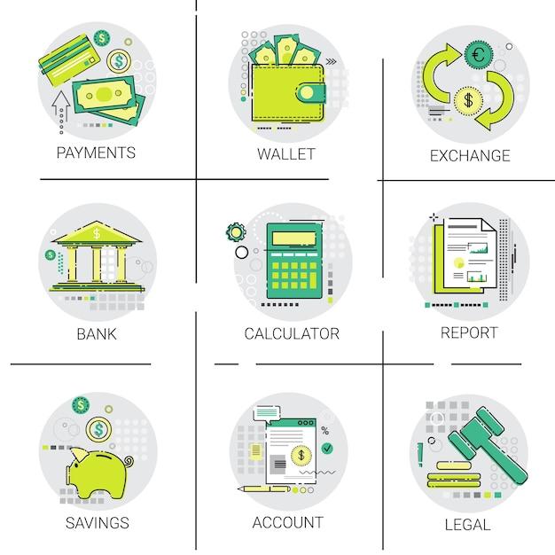 Banking business finance planung online-zahlung icon set Premium Vektoren