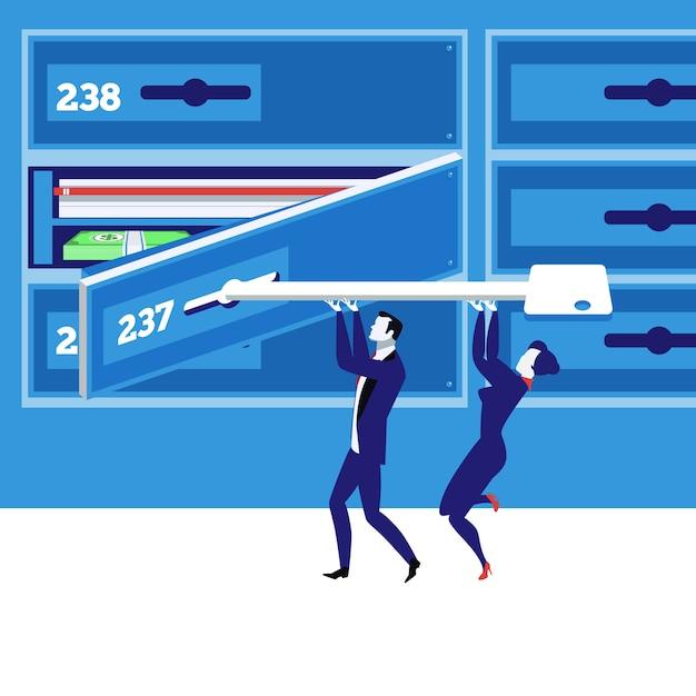 Bankschließfachkonzept-vektorillustration in der flachen art. Premium Vektoren