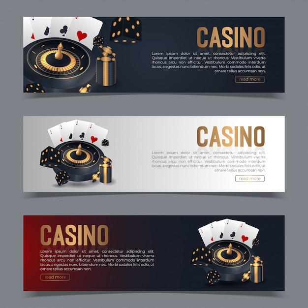Banner auf ein casino-thema gesetzt. Premium Vektoren