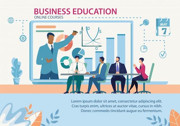 Banner business education online-kurse flache vorlage Premium Vektoren