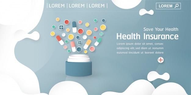 Banner de seguro de salud en azul pastel Premium Vektoren