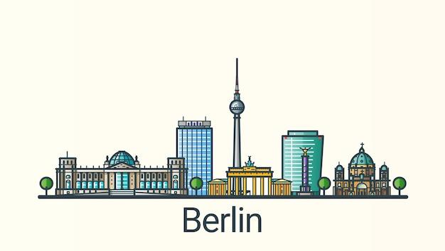 Banner der berliner stadt im trendigen stil der flachen linie. berliner stadtlinienkunst. alle gebäude getrennt und anpassbar. Premium Vektoren