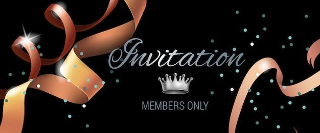 Banner der einladungsmitglieder nur mit strudelbändern Kostenlosen Vektoren
